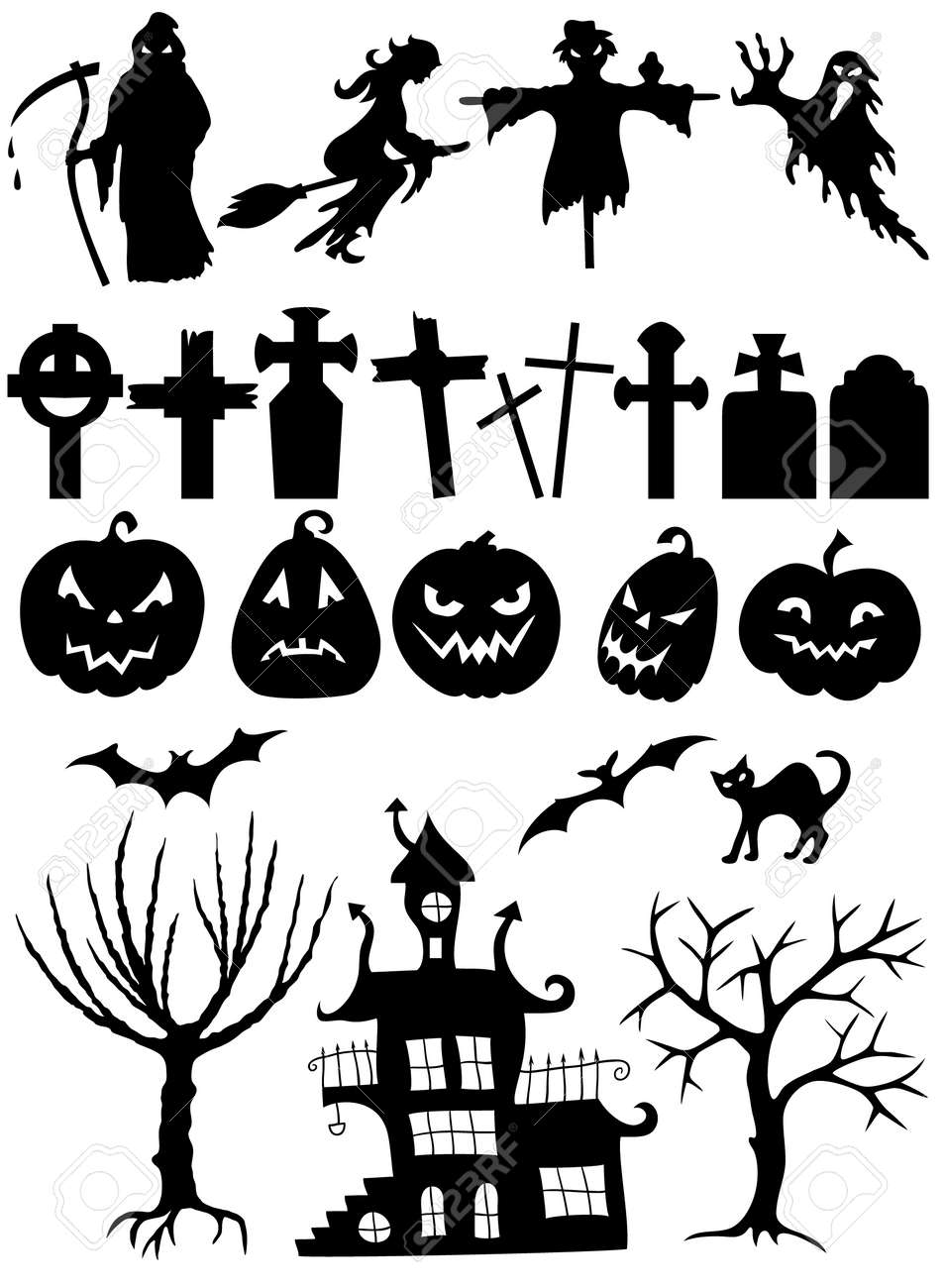 Set Of Halloween Silhouettes On White Background Royalty Free ...
