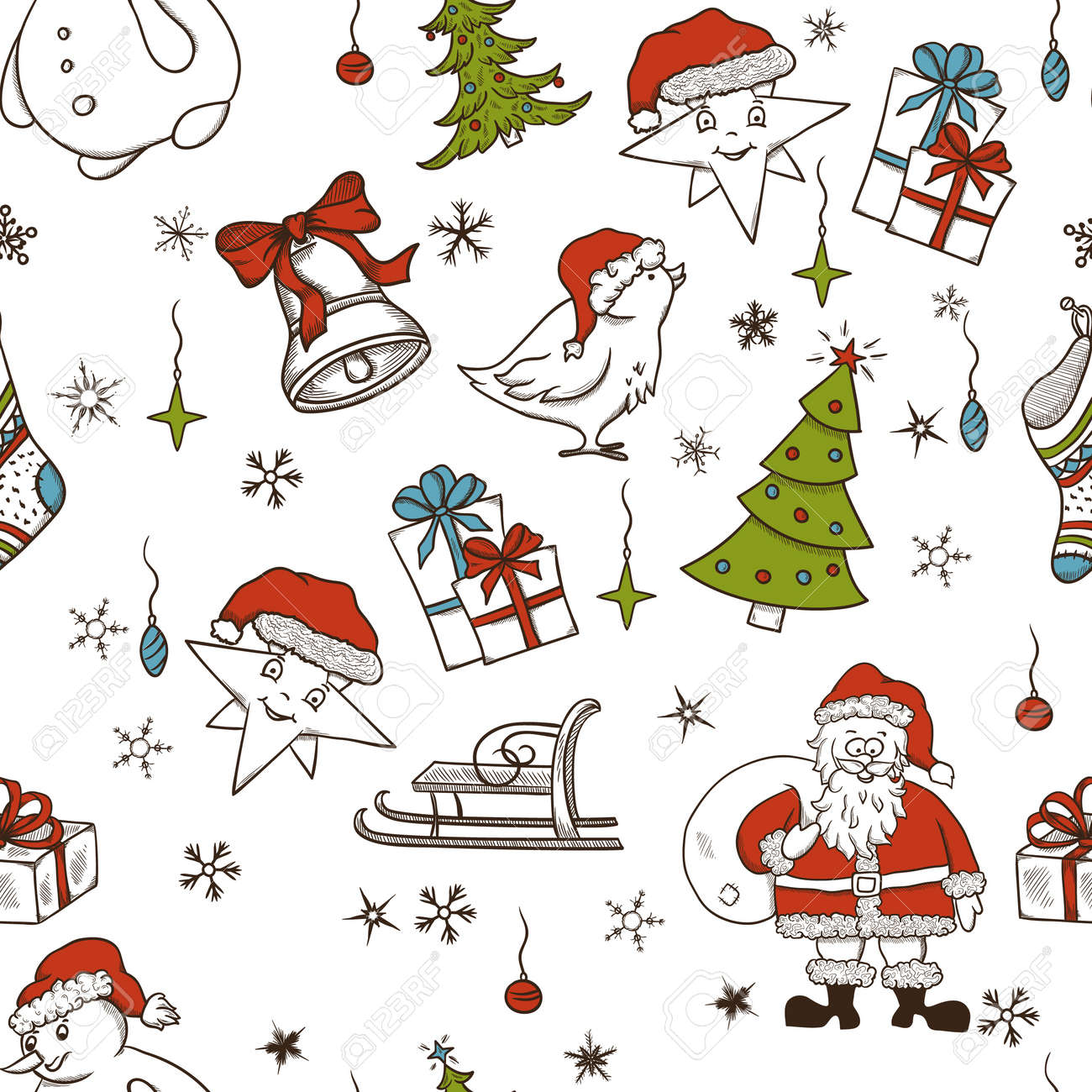 Christmas seamless pattern with doodle elements Stock Vector - 15704780
