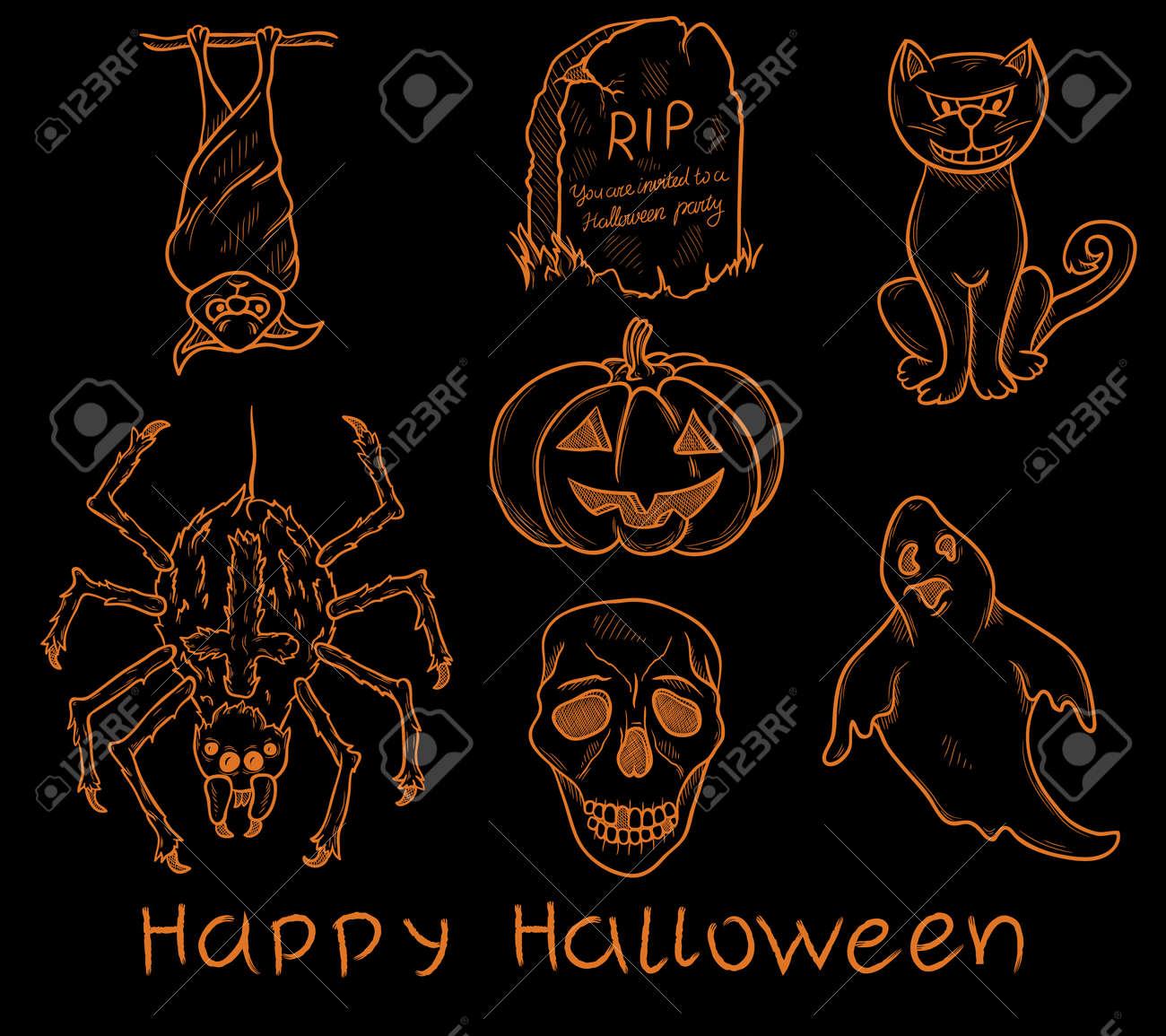 Set of halloween design elements Stock Vector - 15704762