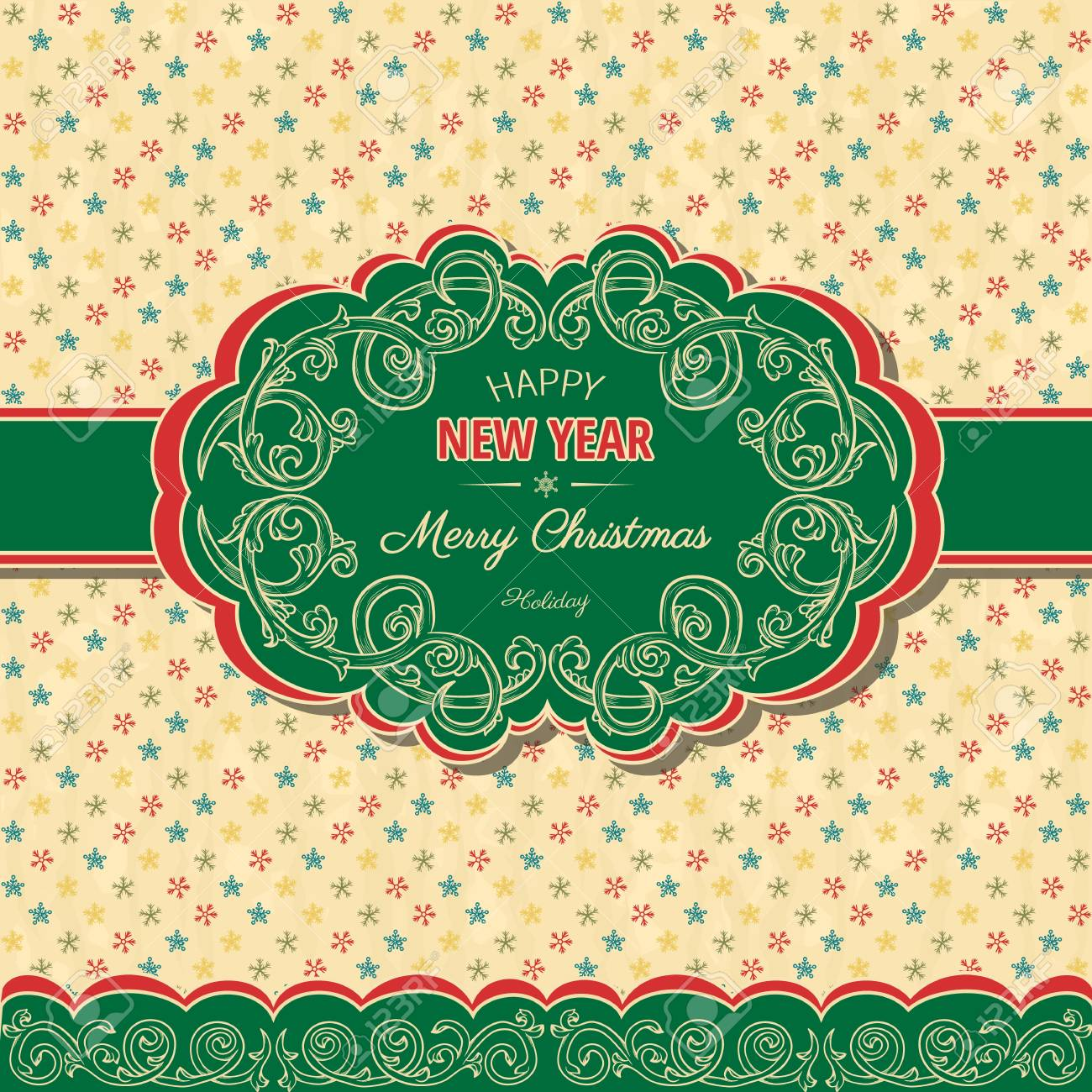 Christmas ans new year background in retro style Stock Vector - 16937460