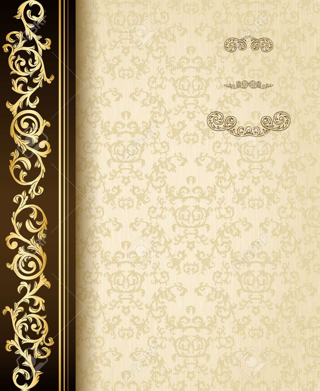Stylish vintage background with golden ornament and damask pattern Stock Vector - 17041886