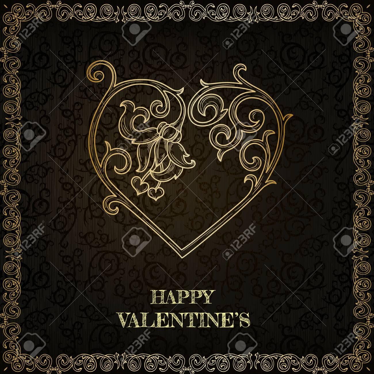 Vintage happy valentine greeting card Stock Vector - 17041913