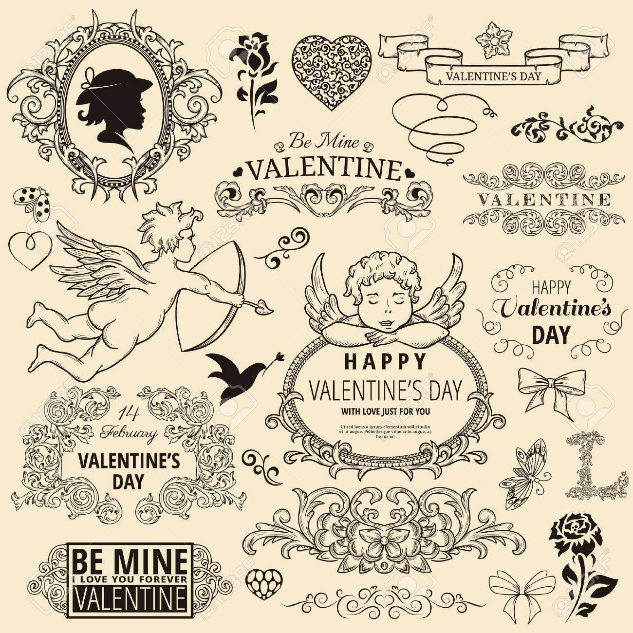 Set of vintage design element for Happy Valentine Stock Vector - 17578275