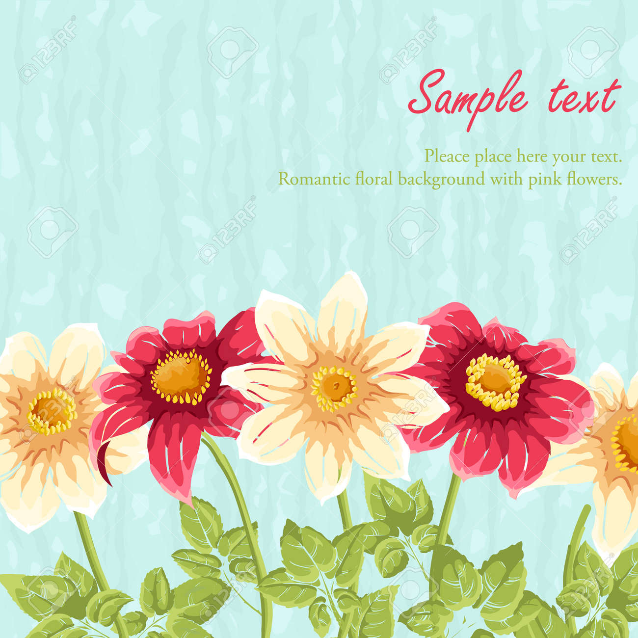 Cute Floral Backgrounds With Sky And Flowers Royalty Free Cliparts