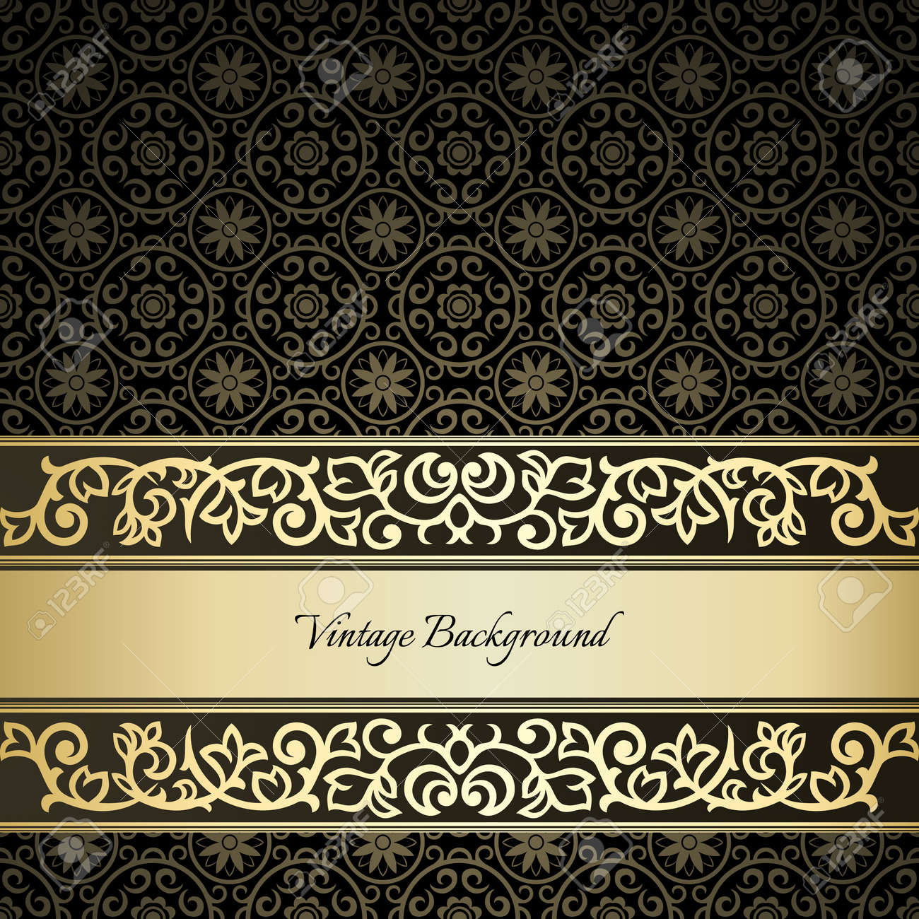 Golden frame on dark damask background Stock Vector - 21530074