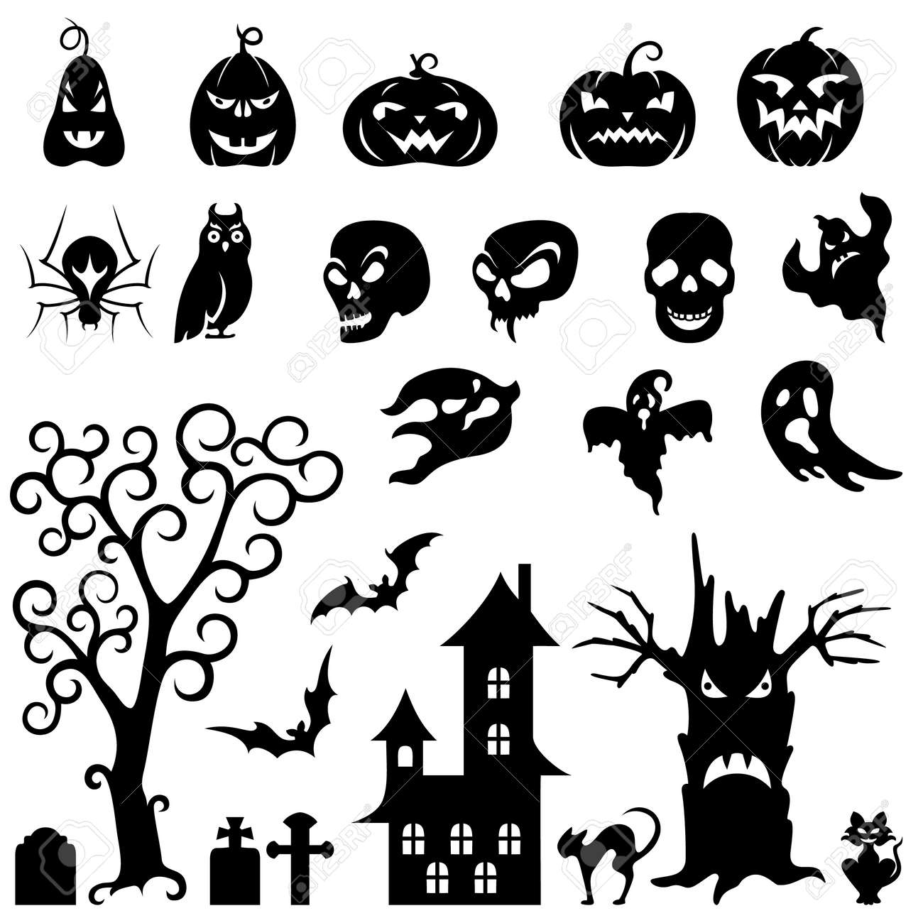 Set Of Halloween Silhouette On White Background Royalty Free ...