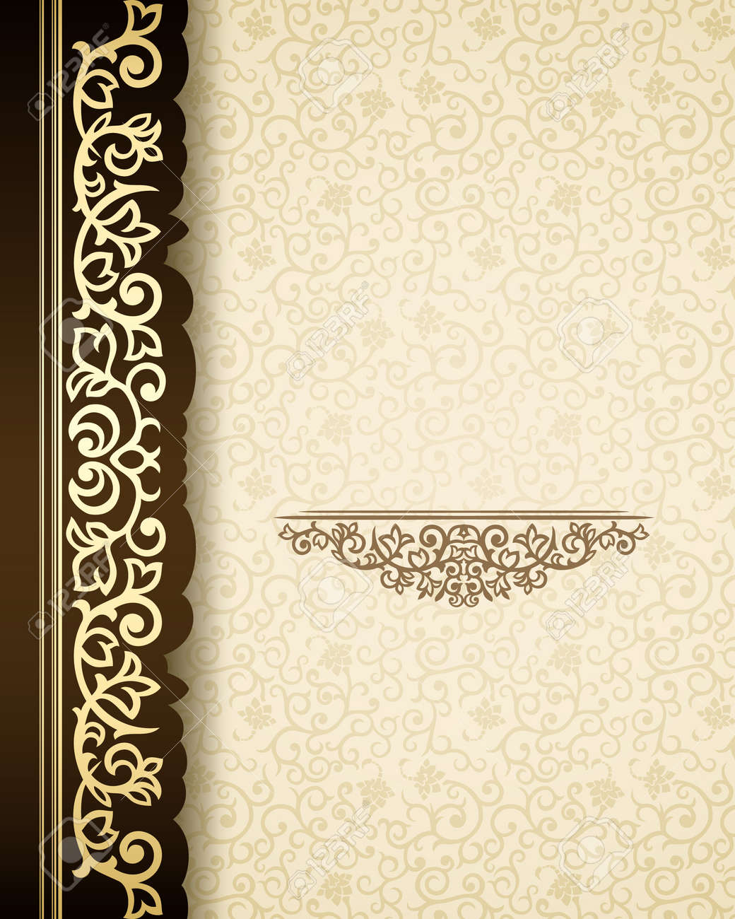 Vintage background with golden border and retro pattern Stock Vector - 21800361