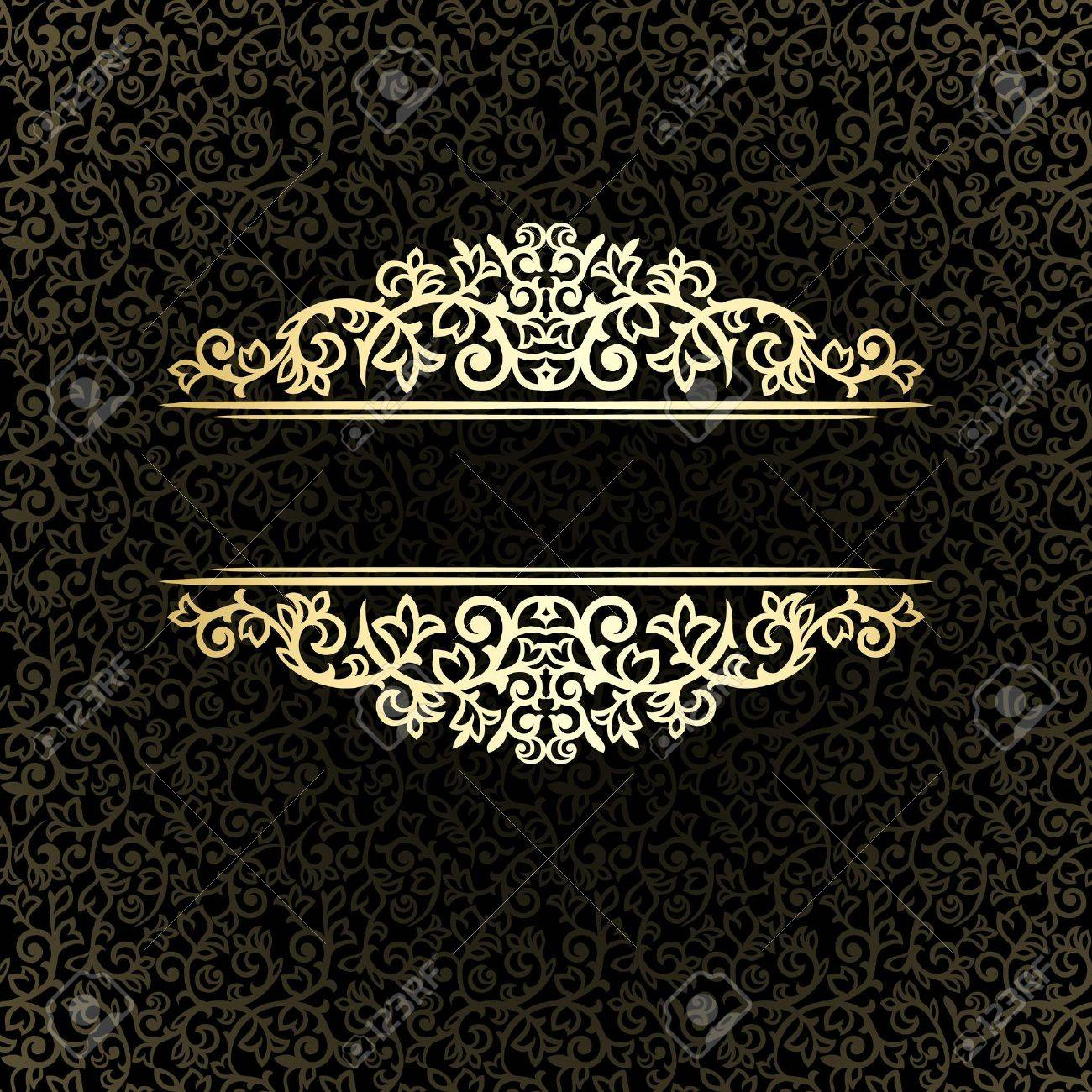 Vintage background ornate baroque pattern vector illustration stock - Vintage Golden Frame On Dark Ornate Background Stock Vector 21800362