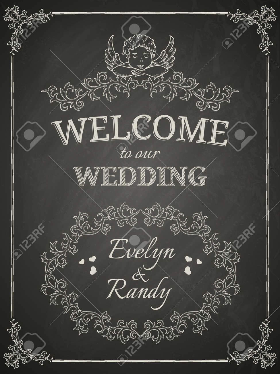 wedding poster on black chalkboard royalty free cliparts vectors
