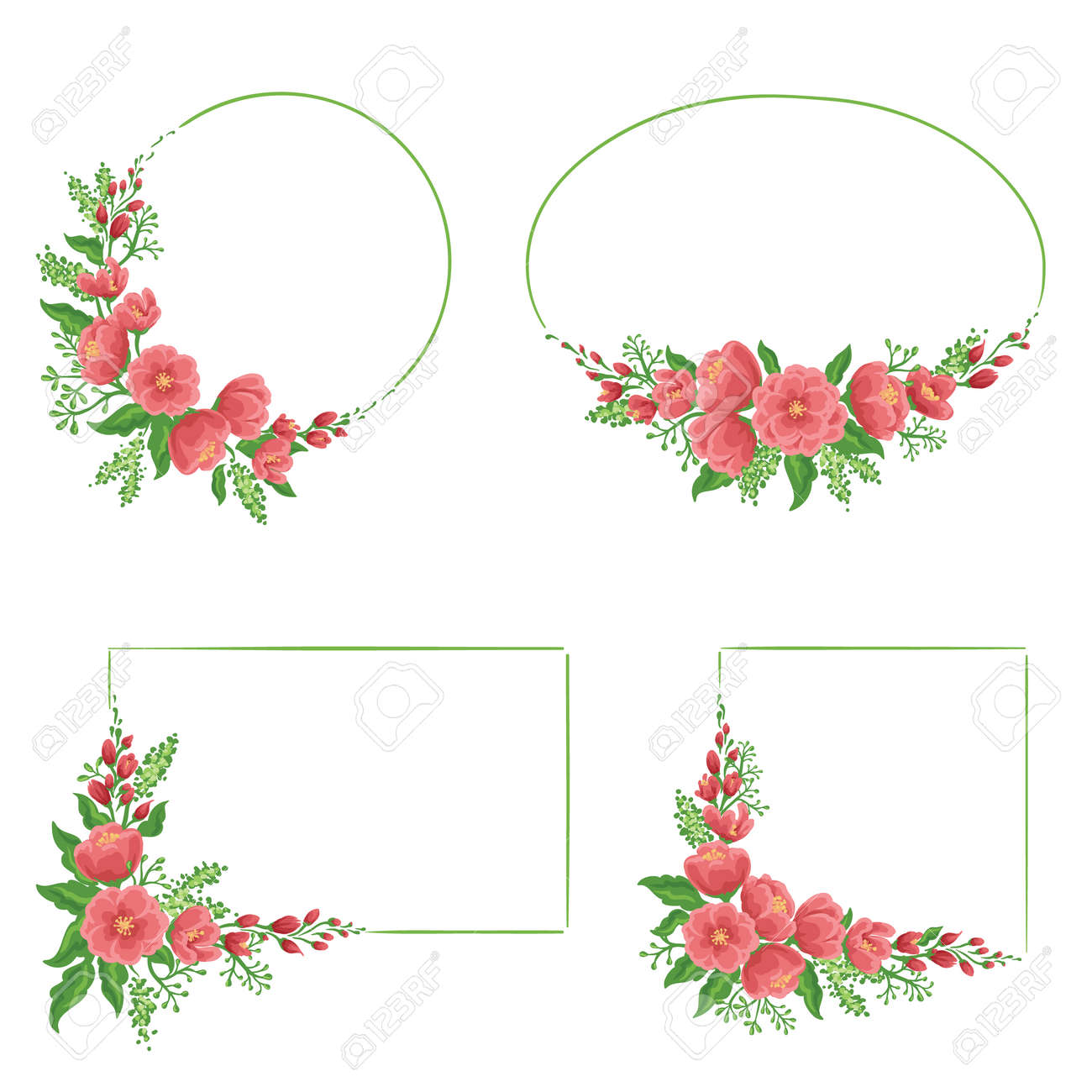 Set Of Four Floral Frames In Different Shapes Royalty Free Cliparts ...