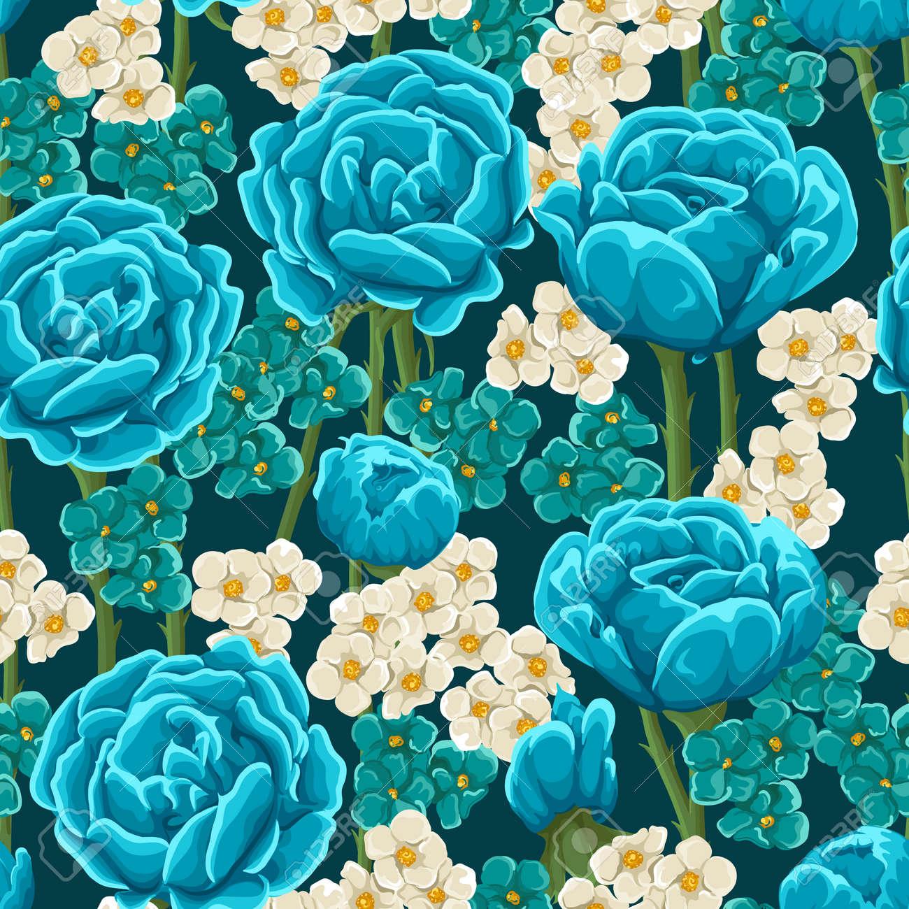 Modelo Inconsútil Floral Con Rosas Azules Y Pequeñas Flores De Color