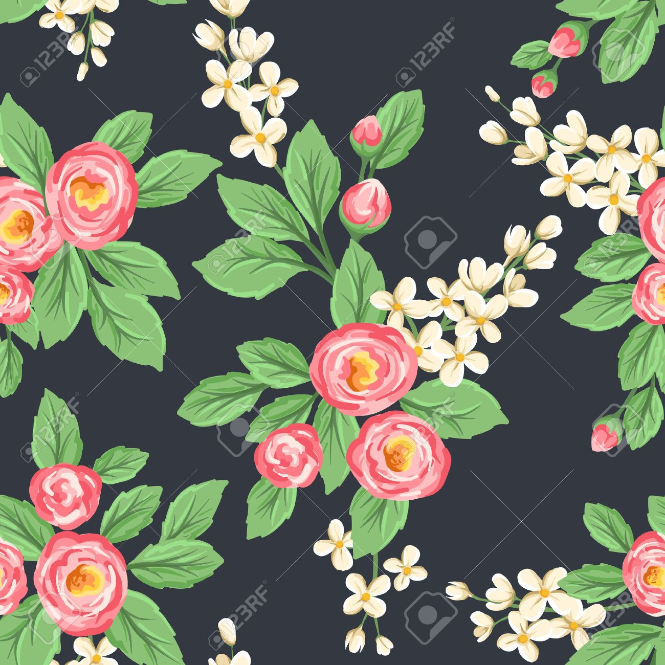 Floral Seamless Pattern With Pink Roses And Small White Flowers On