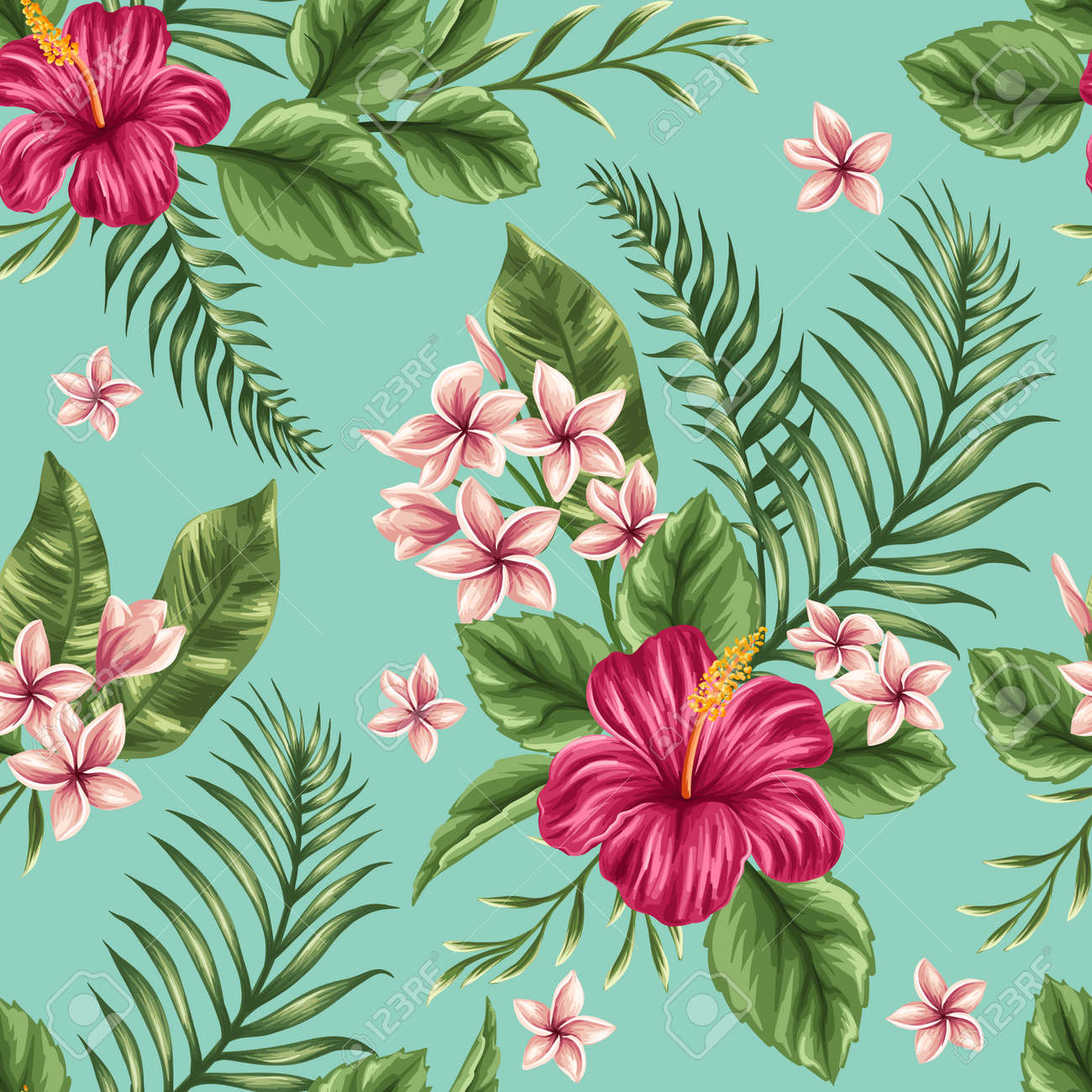 Tropical floral seamless pattern with plumeria and hibiscus flowers tropical floral seamless pattern with plumeria and hibiscus flowers stock vector 36911091 izmirmasajfo
