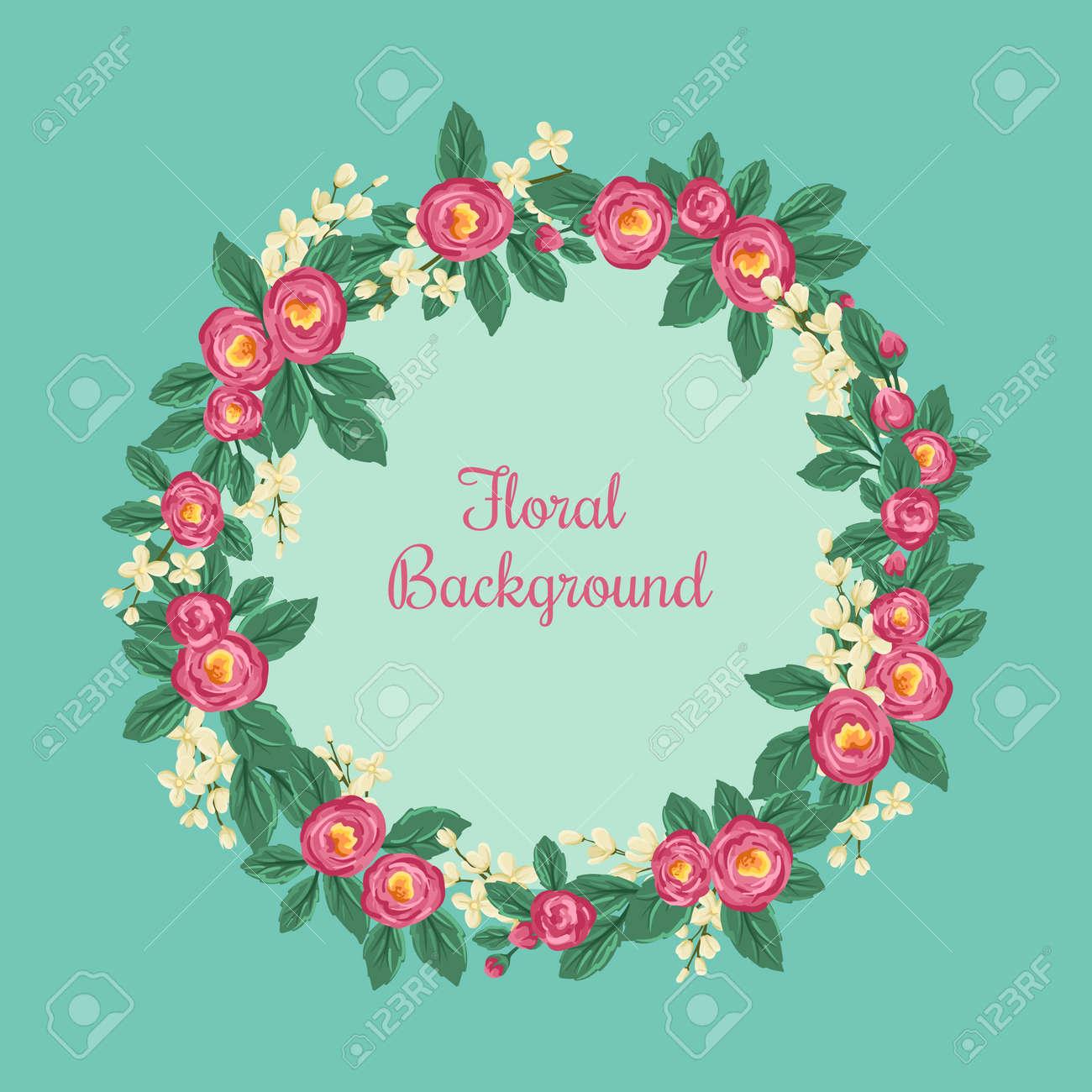 Marco Floral Redondo Con Las Rosas Y Pequeñas Flores De Color Azul ...