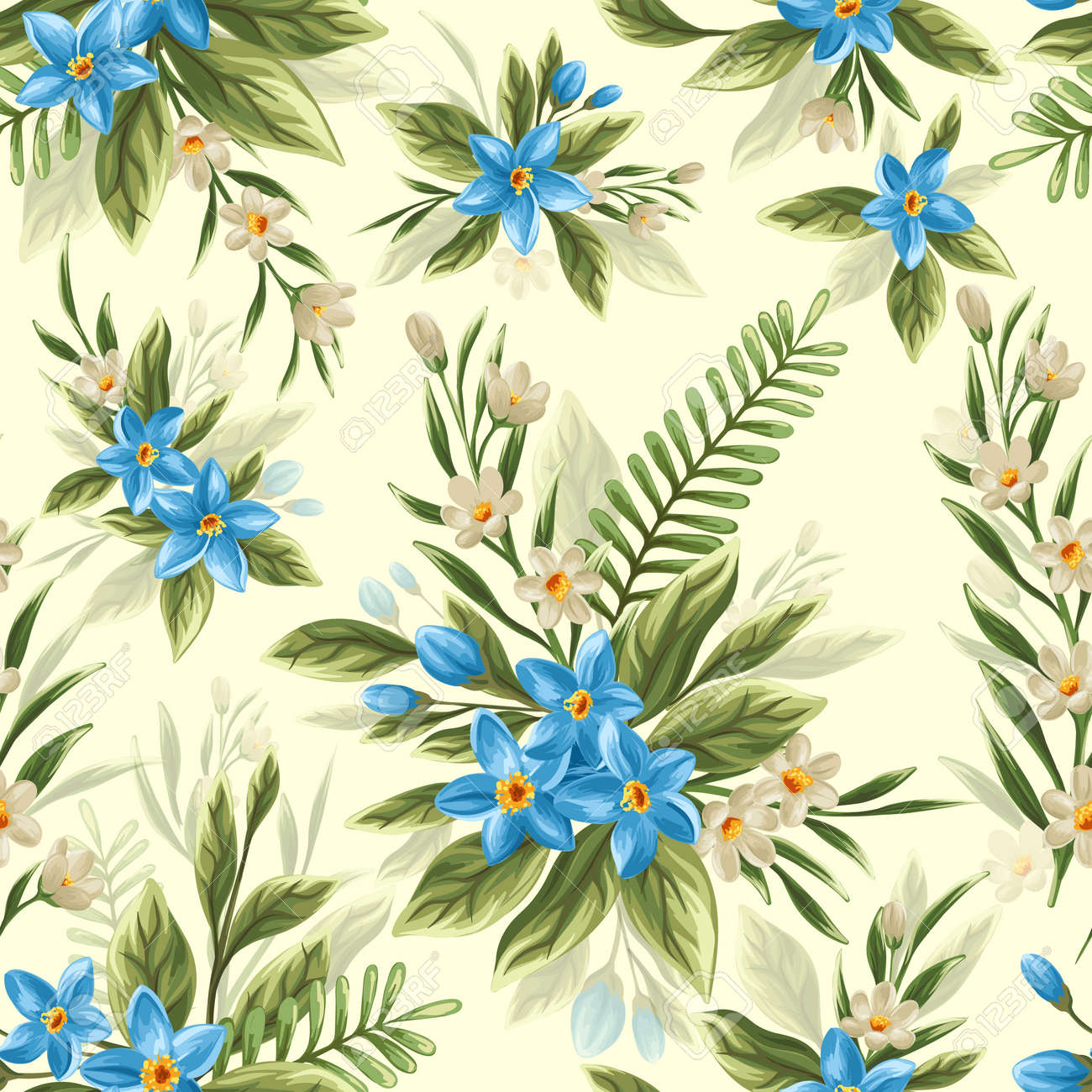 Seamless pattern with beautiful flowers in watercolor style - 45581766