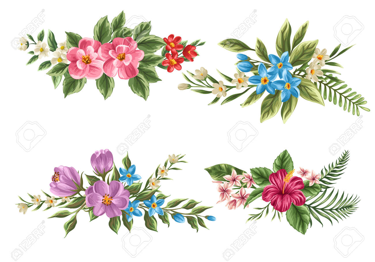 Set of floral bouquets isolated on white background with classical set of floral bouquets isolated on white background with classical and tropical flowers stock vector izmirmasajfo