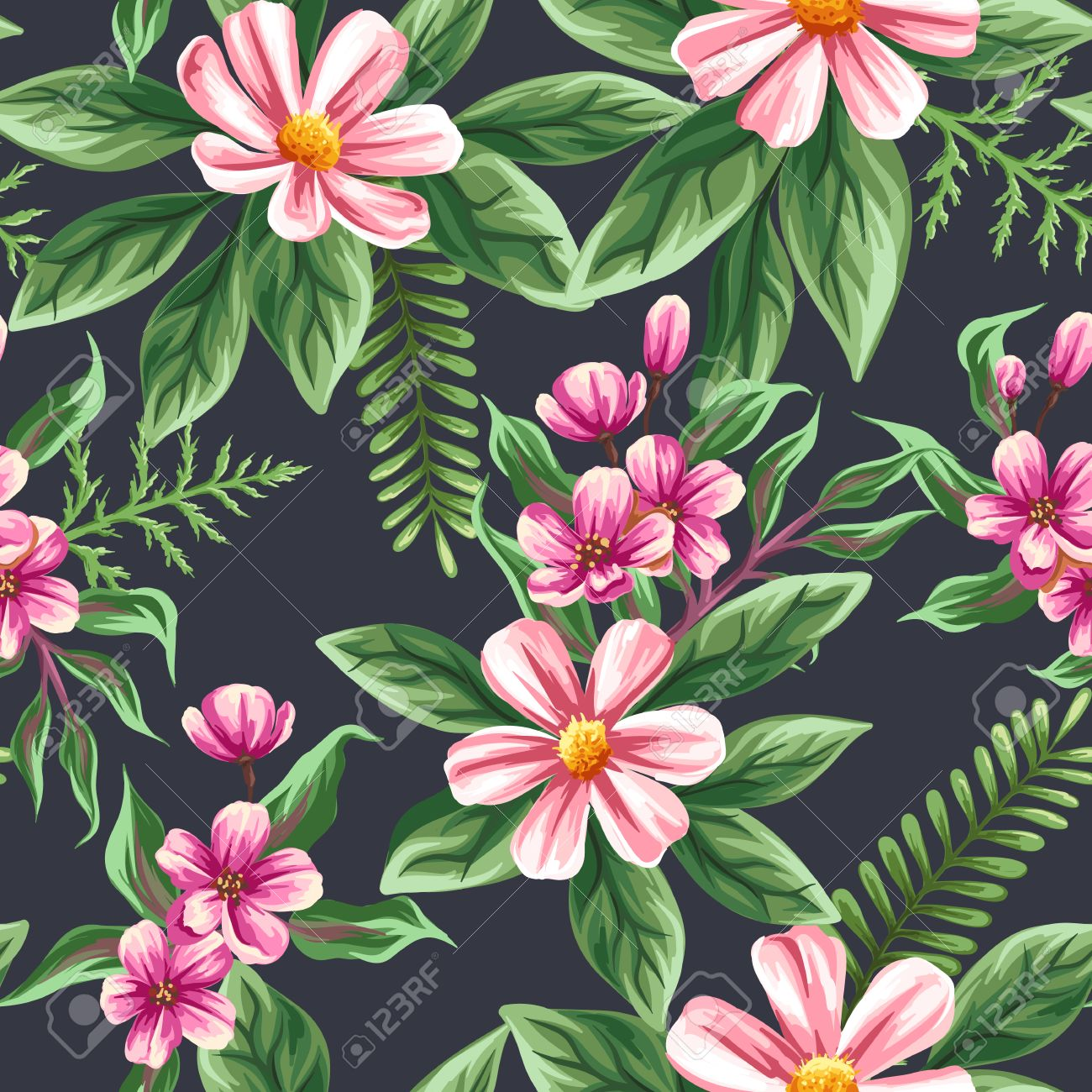 Floral Seamless Pattern With Flowers And Leaves On Dark Background ...