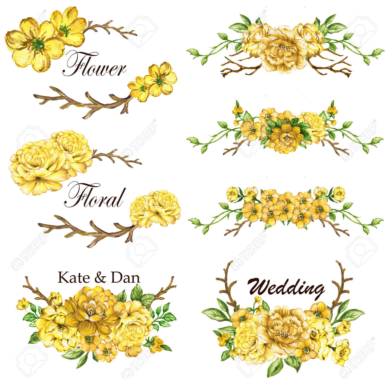 Yellow Spring Collection With Leaves And Flowers Drawing Watercolor