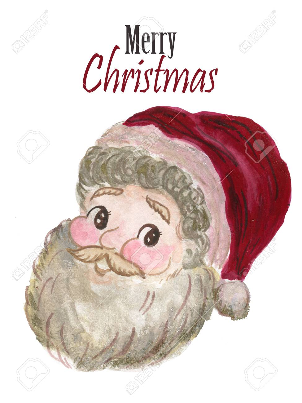 89782774439af Watercolor smile Santa Claus red hat Hand painted christmas illustration  isolated on white background for design