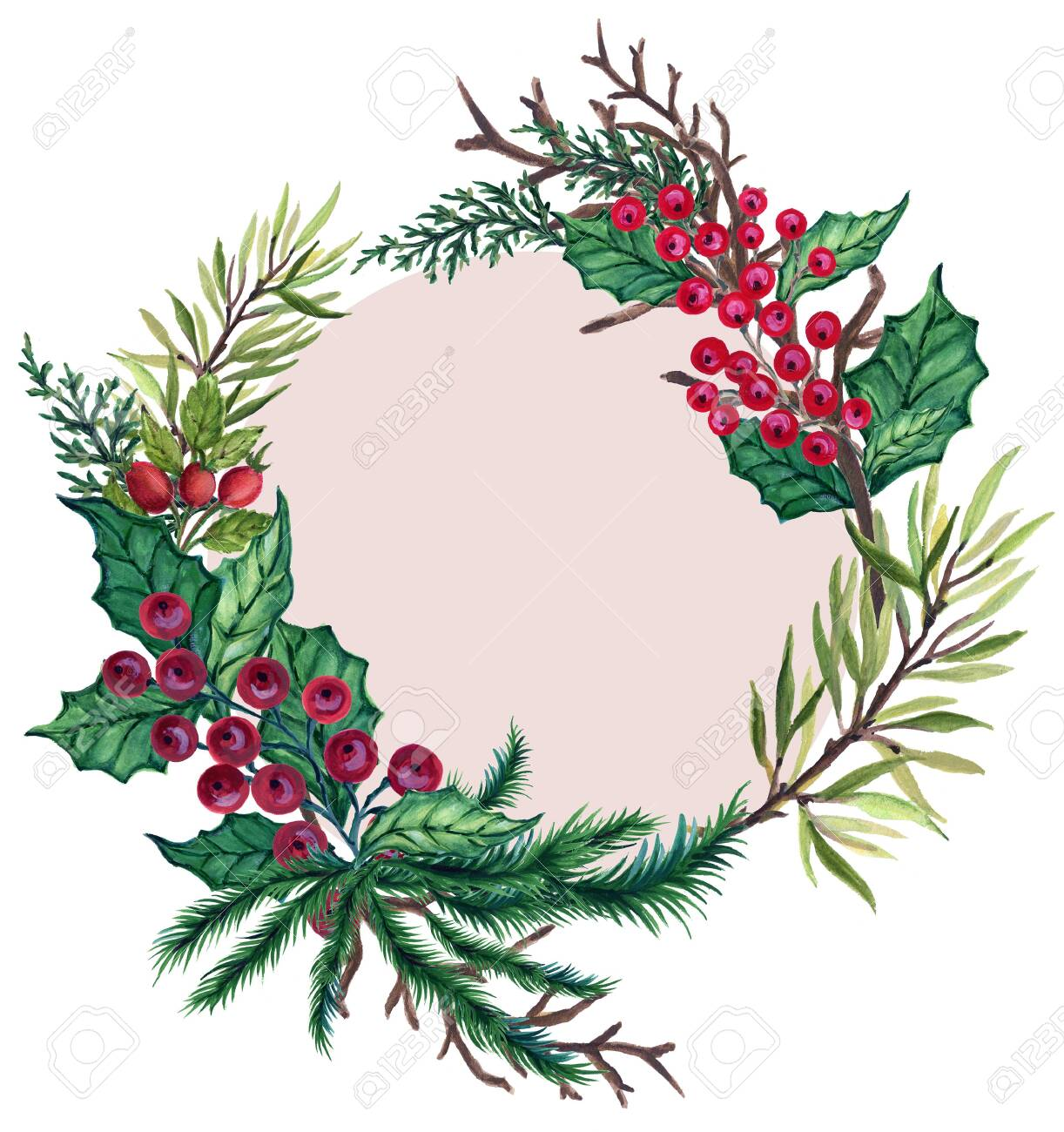 Watercolor Gouache Vintage Retro Hand Painted Christmas Wreath Stock Photo Picture And Royalty Free Image Image 118981266