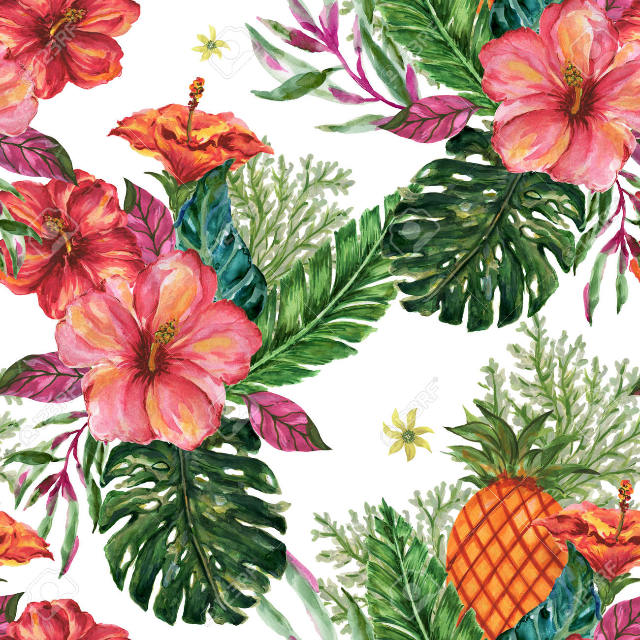 Watercolor gouache summer beach jungle seamless pattern tree, leaf, fruit, food, botanice, doodle background Hand painted tropical illustration - 141640784