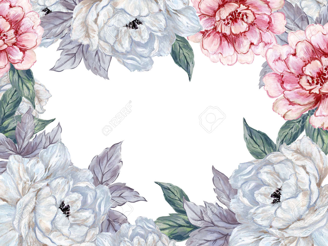 Hand Drawn Winter Season Asian Peonies And Ranunculus Flower Stock Photo Picture And Royalty Free Image Image 158681005