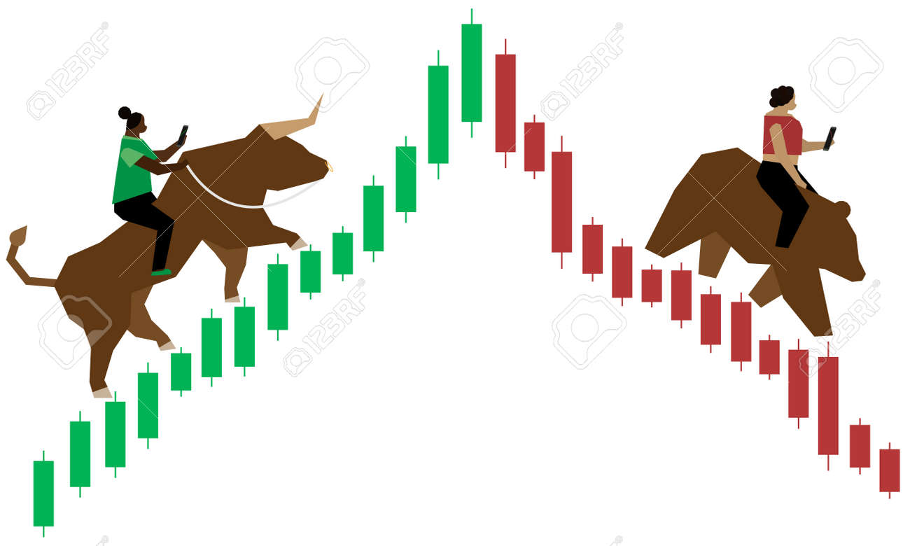 One woman of color riding bull up a green (bullish) Japanese candlestick market graph while another one rides a bear down the red (bearish) side graph as they both trade forex on their smartphones. - 158598723