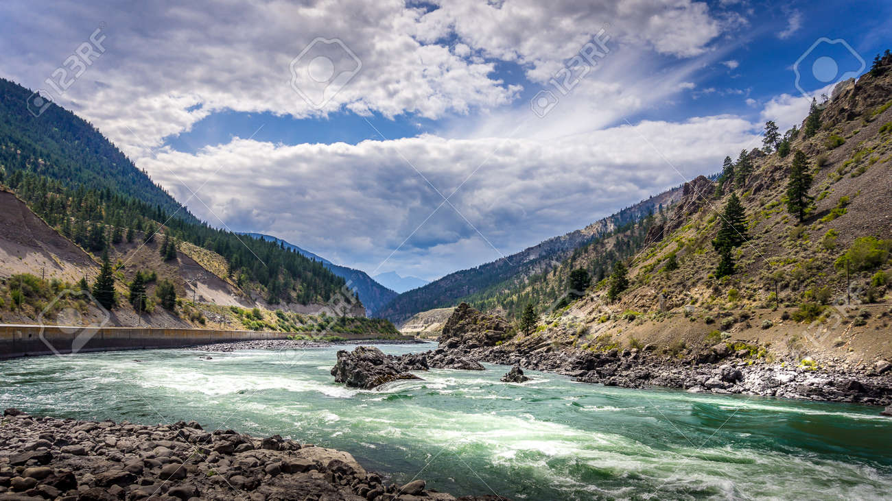 Thompson River with its many rapids flowing through the Canyon in the Coastal Mountain Ranges of British Columbia, Canada - 156120869