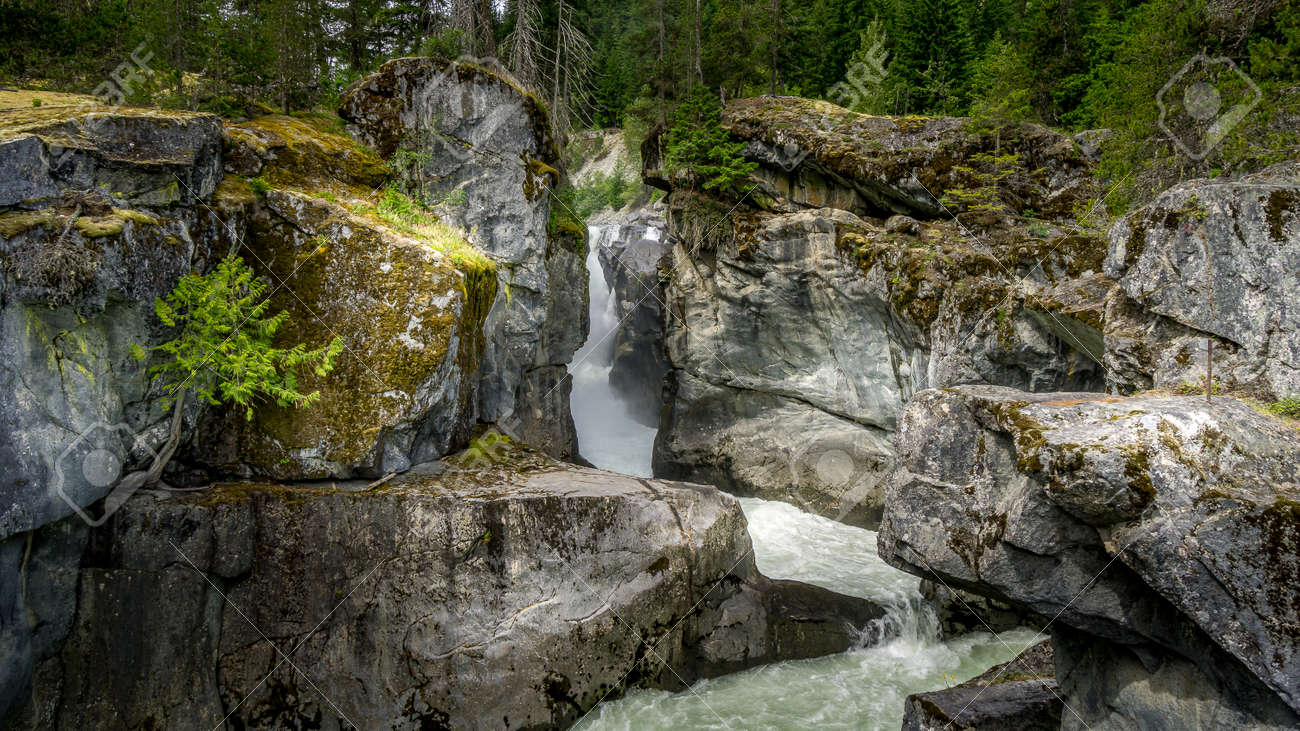 Nairn Falls on the Lillooet River between the towns of Whistler and Pemberton in British Columbia, Canada - 156120905