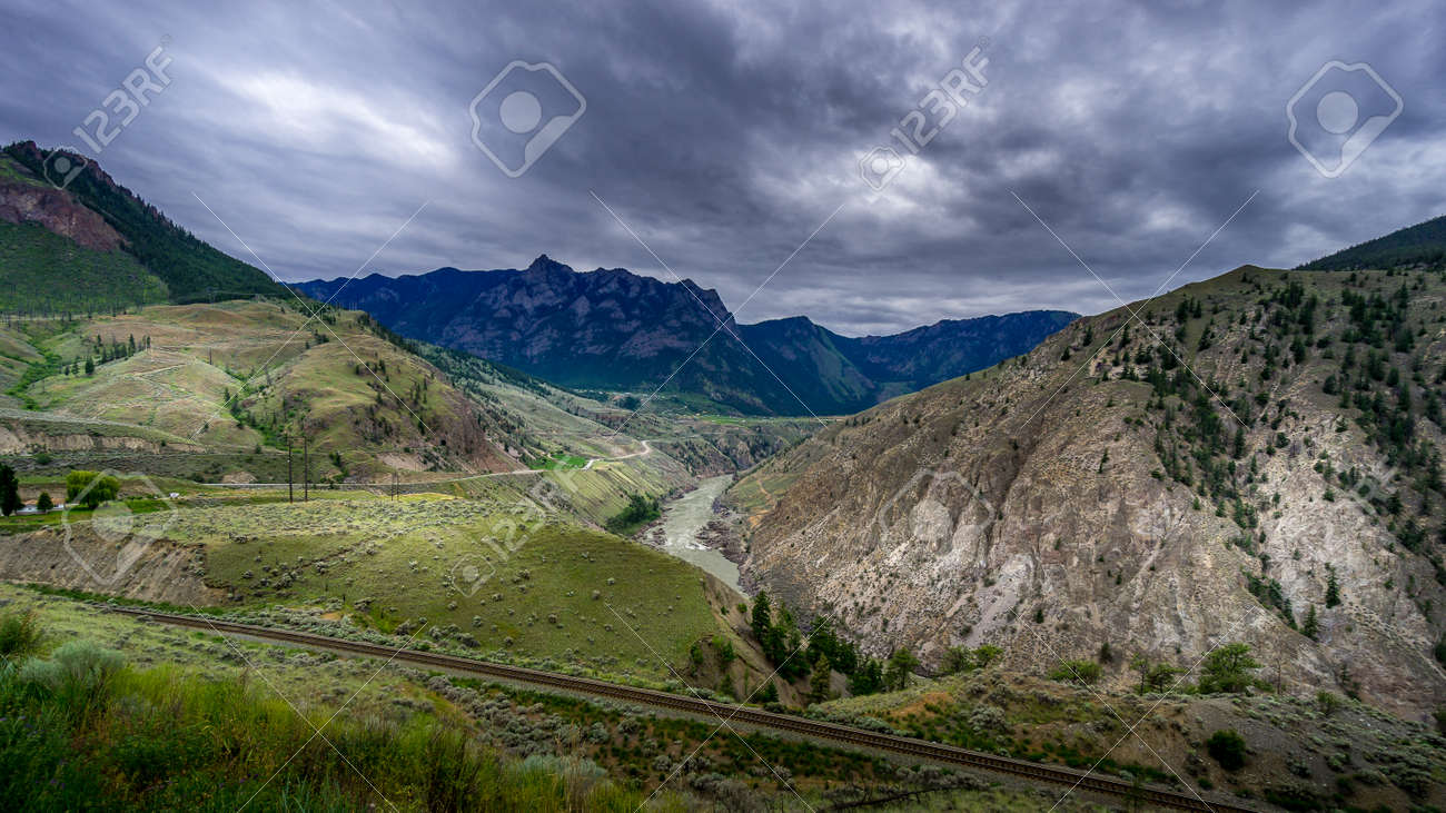 Bad weather hanging over the Fraser Canyon and Highway 99 near Lillooet in British Columbia, Canada - 156121226