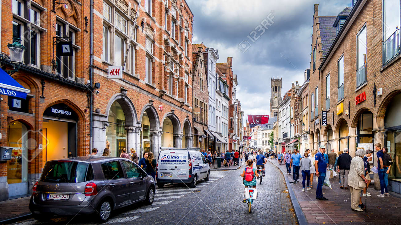Bruges/Belgium-Sept 19, 2018: Early Morning activity on the normally busy Steenstraat in the historic city of Brugge in Belgium - 157481018