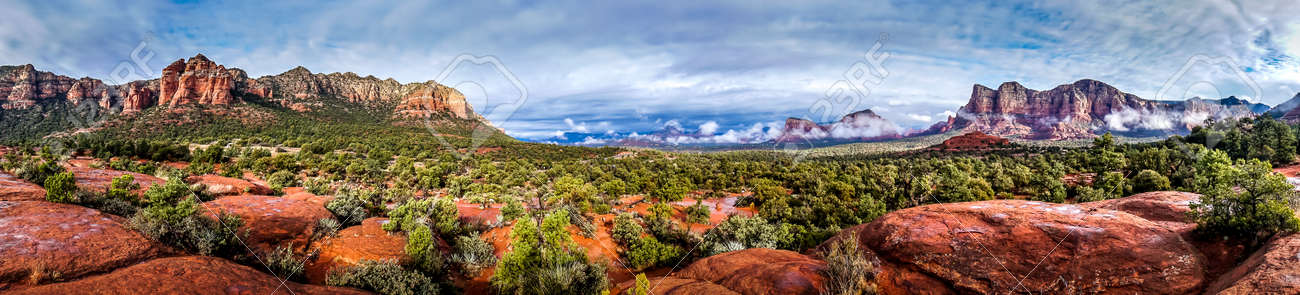 Panorama of Cathedral Mountain and Munds Mountain Wilderness between the Village of Oak Creek and Sedona in northern Arizona in Coconino National Forest, United States of America - 159817613
