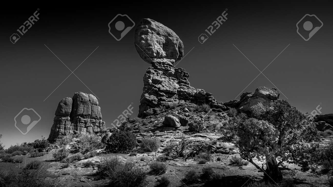 Black and White Photo of Balanced Rock and other Sandstone Formations along the Arches Scenic Drive in Arches National Park near Moab, Utah, USA - 163724913