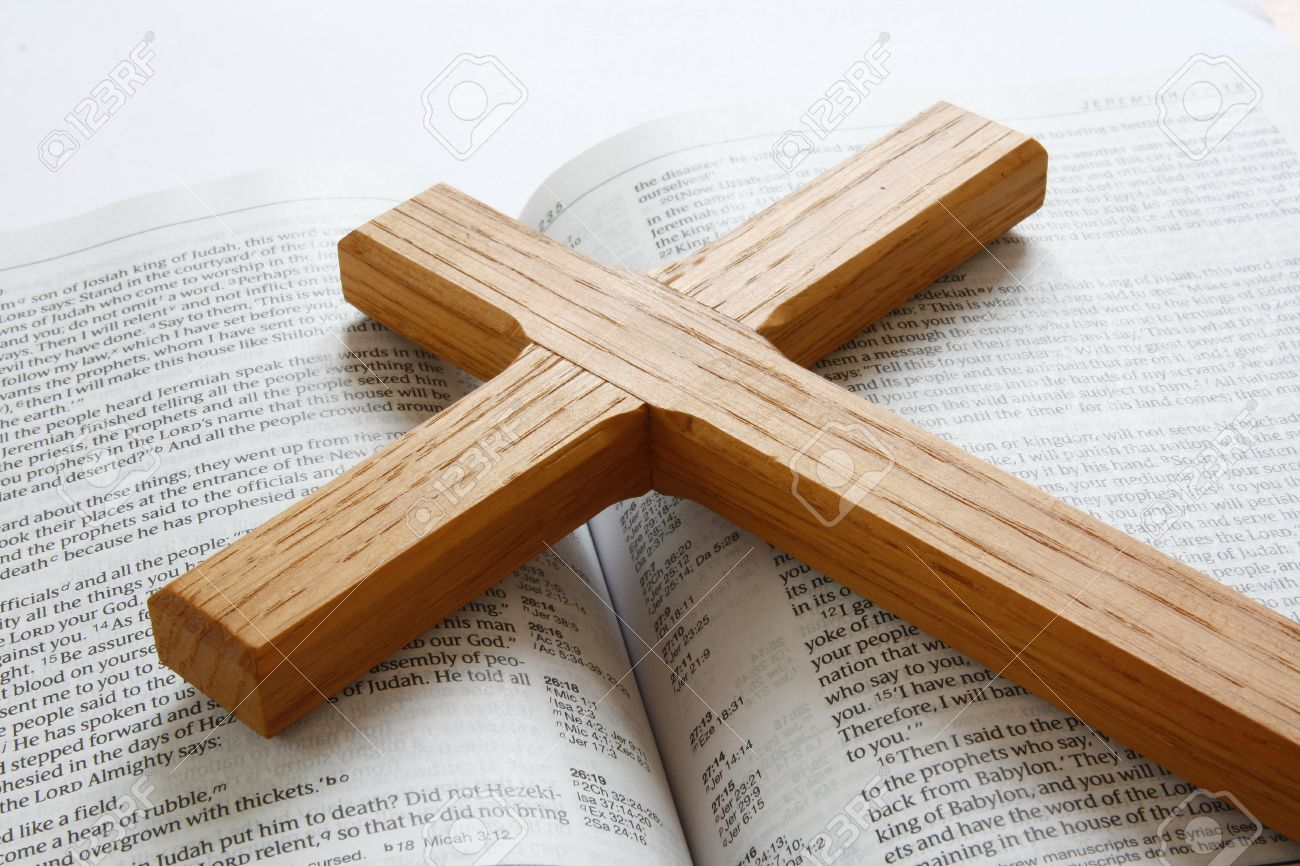 open bible with wooden cross stock photo picture and royalty free