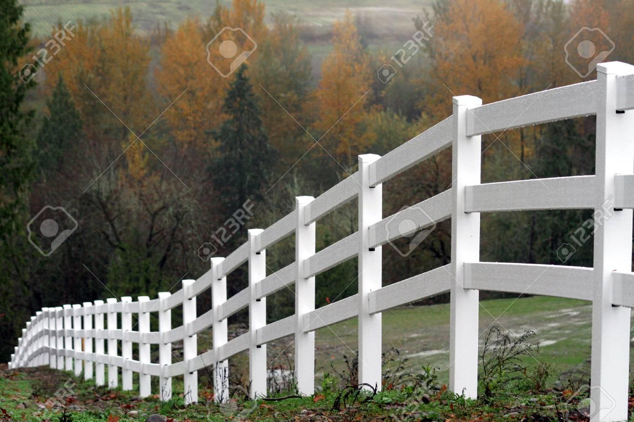 Staccionata Bianca In Legno vista scenica di una recinzione bianca che si dirige giù una collina  durante la stagione di autunno.