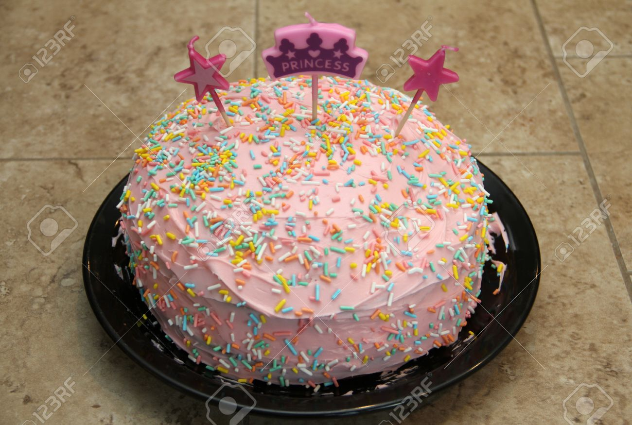 A Birthday Cake Decorated For Little Princess Girl Stock Photo