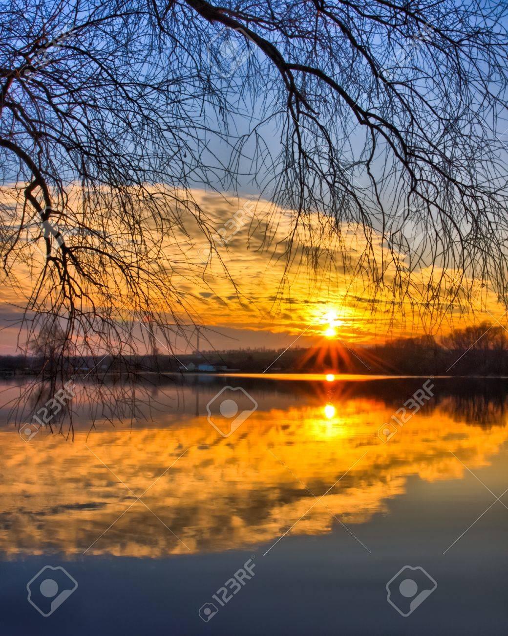 Beautiful evening sky reflection on the lake Stock Photo - 8734132