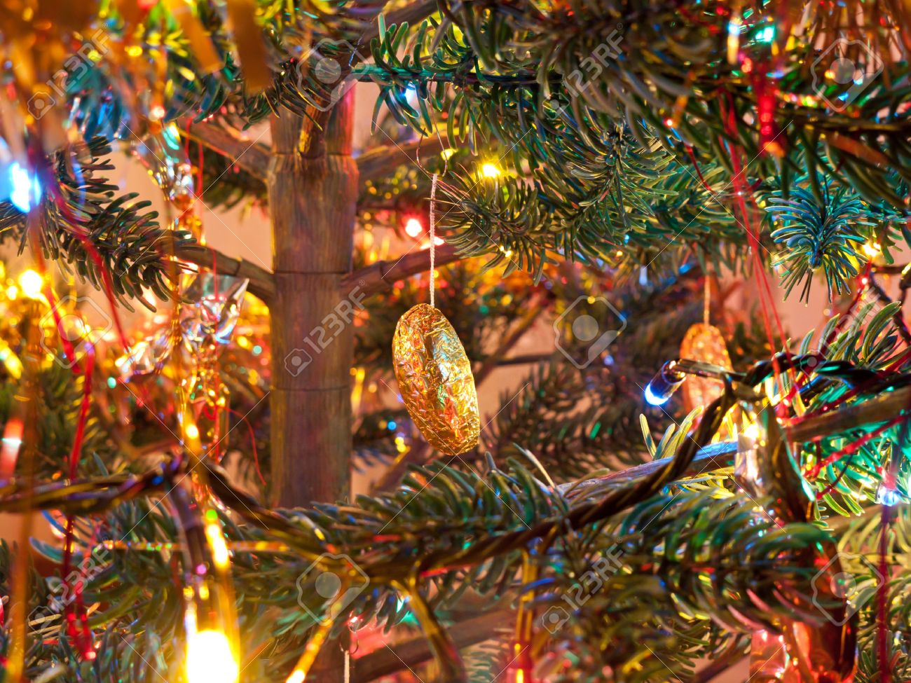 Decorated Christmas tree in beautiful colored lights Stock Photo - 11218738
