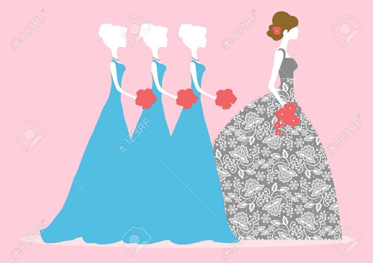 Ilustración Vectorial De Una Novia Y Damas De Honor Tres ...