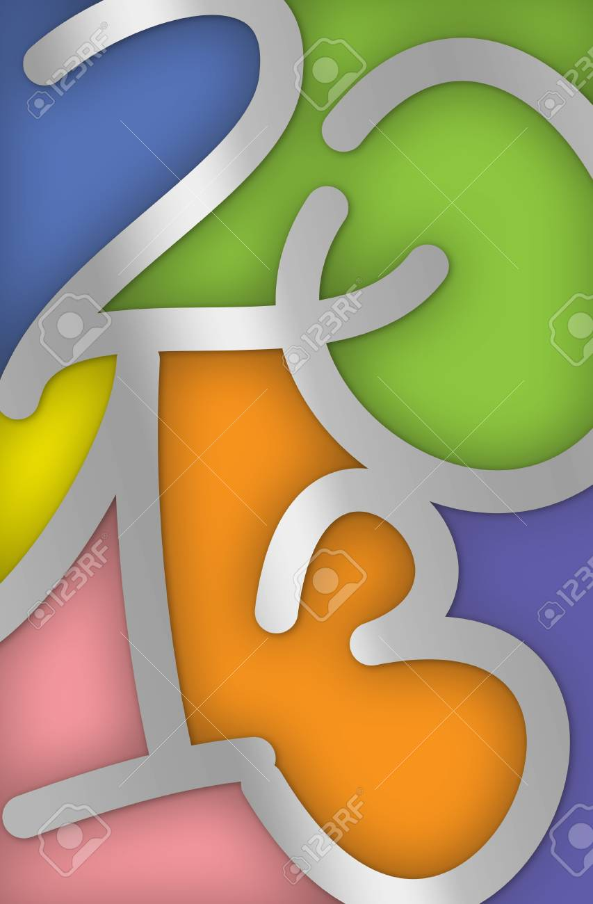 Colorful 2013 New Year Greeting Card with the numbers looking like stained glass Stock Photo - 15796249