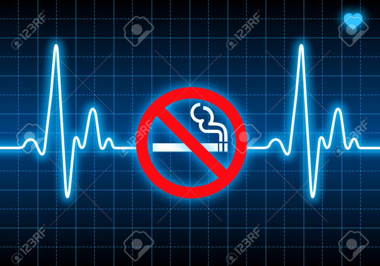 Deje De Fumar Signo En Azul Monitor De Ritmo Cardíaco Que Expresa ...