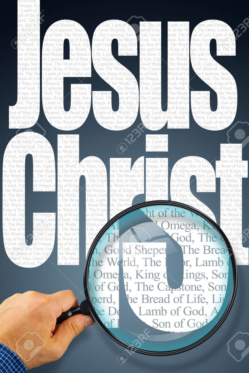 the name jesus christ observed with magnifying glass shows the
