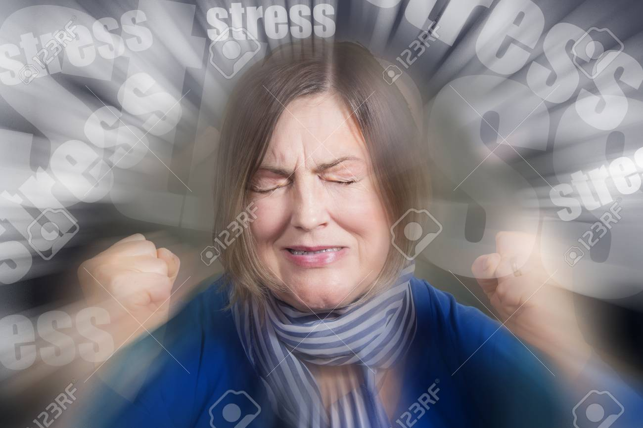 woman pained expression closed eyes copy space isolated on