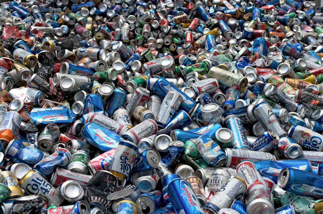 A load of aluminum cans to be compressed and baled for recycling - In the US - 24957061