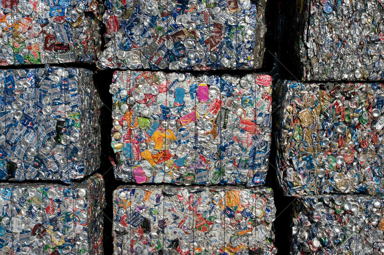 A stack of cans baled for recycling in a US facility - 24957058