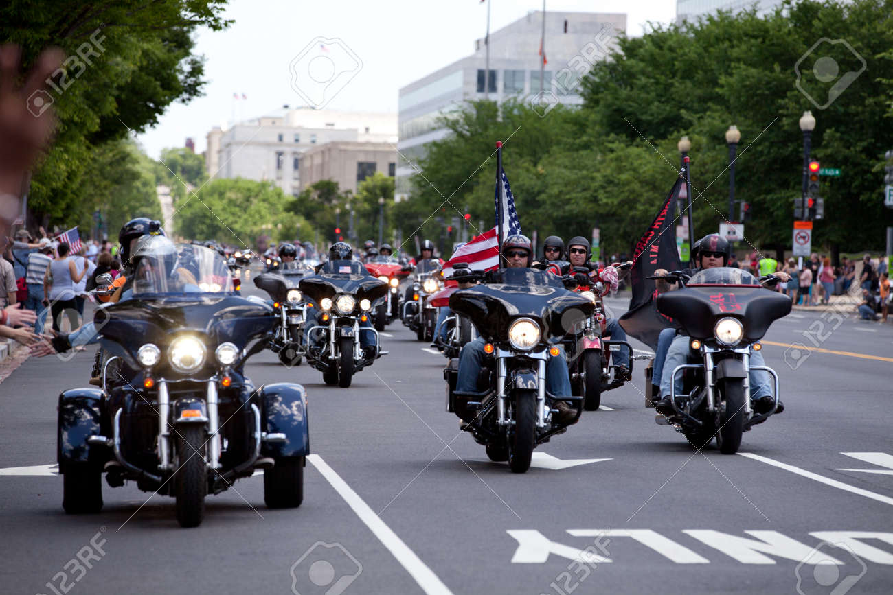 """Motorcycles travel in DC as part of the annual Rolling Thunder motorcycle """"Ride for Freedom"""" for American POWs and MIA soldiers on May 25, 2014 in Washington, DC. - 28661144"""