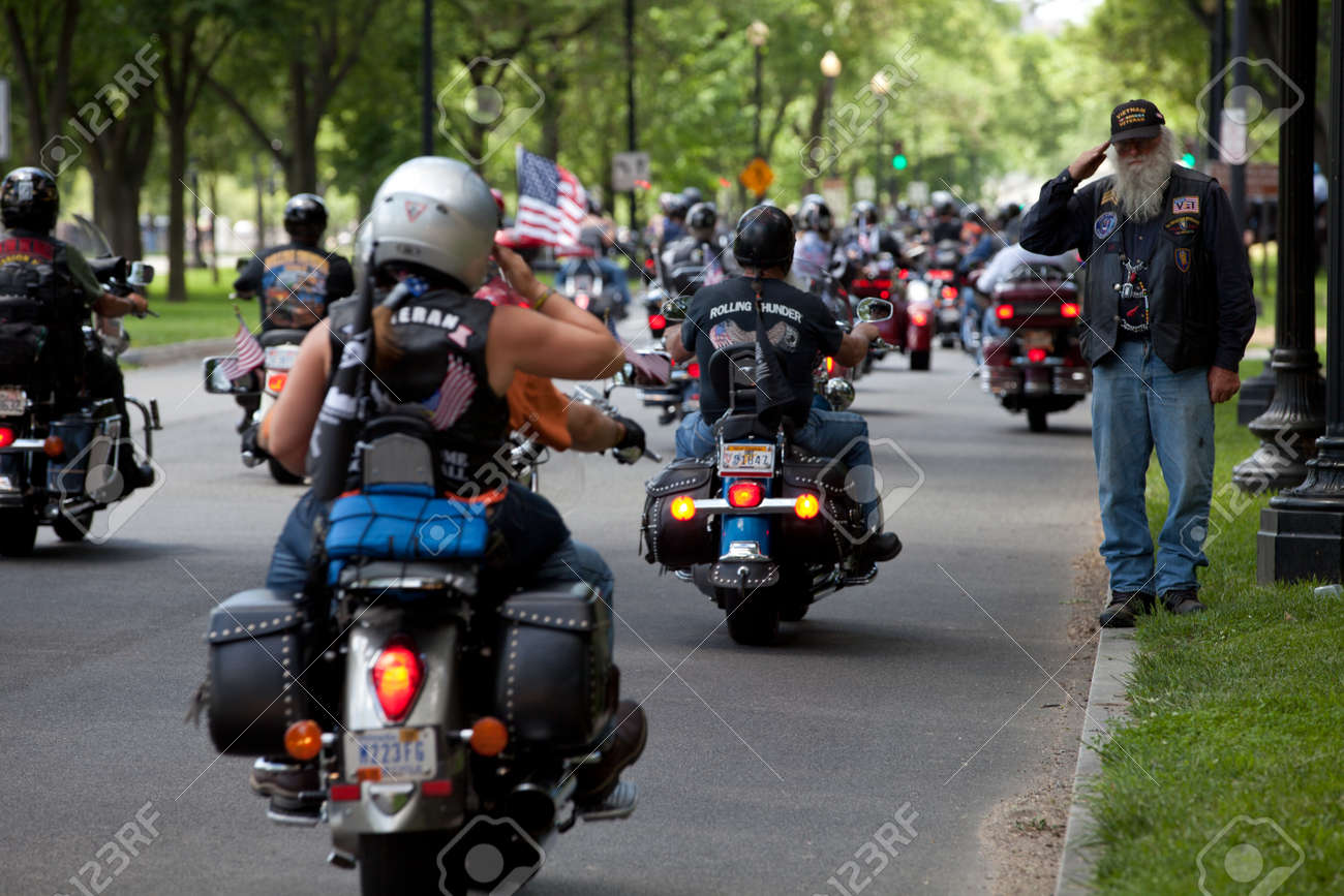 """Motorcycles travel in DC as part of the annual Rolling Thunder motorcycle """"Ride for Freedom"""" for American POWs and MIA soldiers on May 25, 2014 in Washington, DC. - 28661146"""