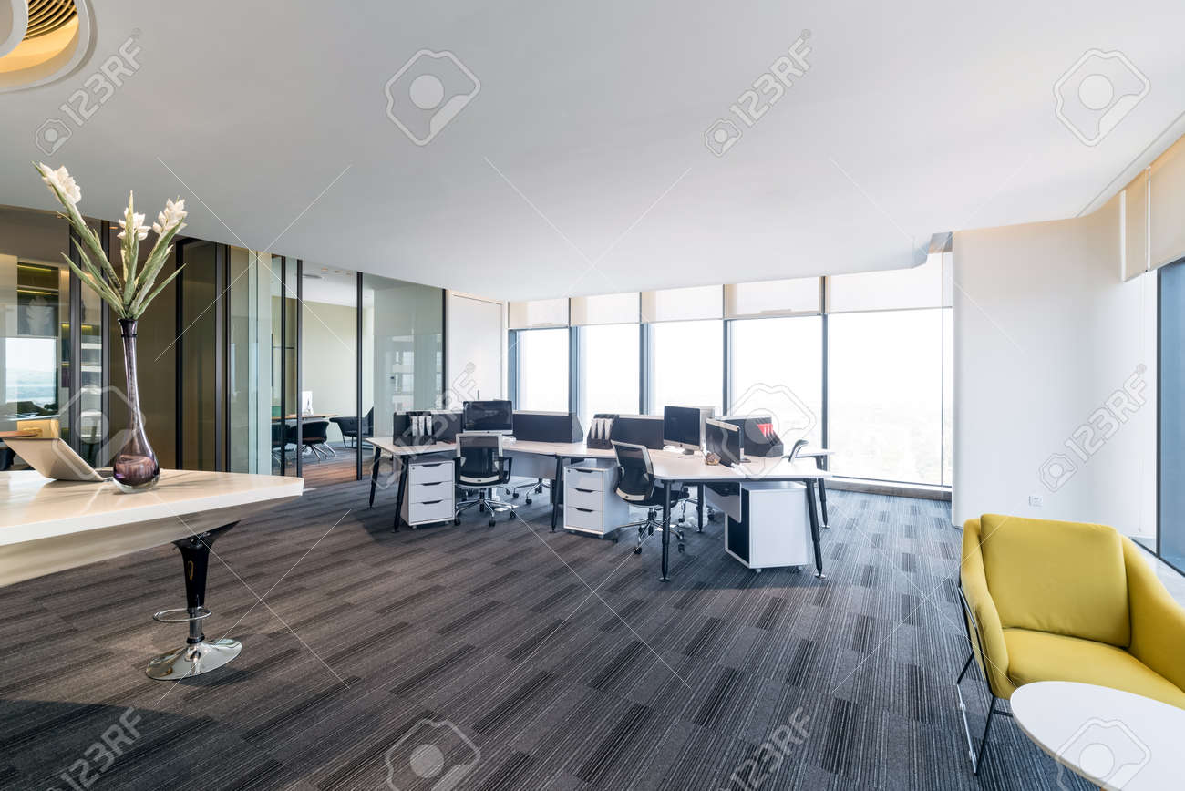 Fashion And Modern Office Interiors, Modern Open Space Office Stock Photo    91849853