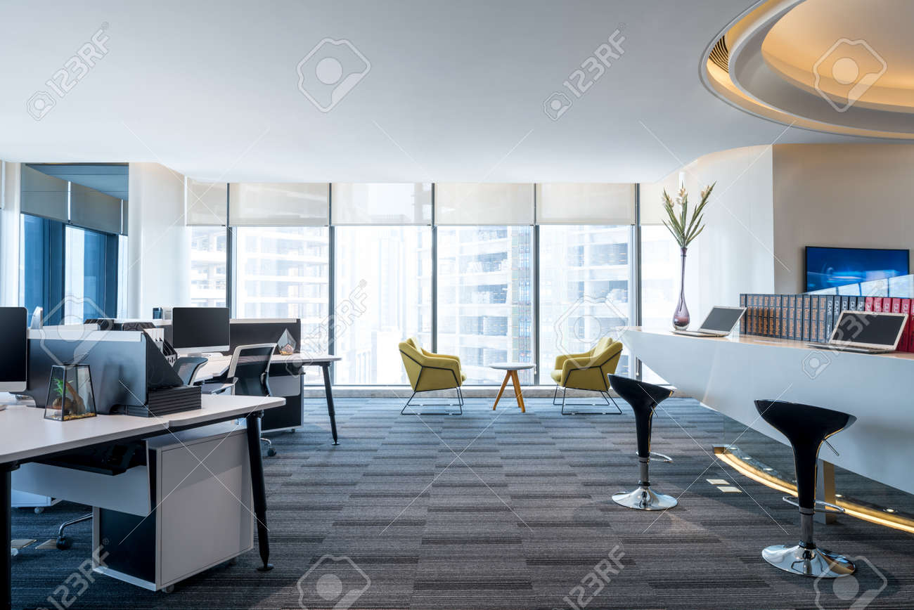 Fashion And Modern Office Interiors, Modern Open Space Office Stock Photo    91849865