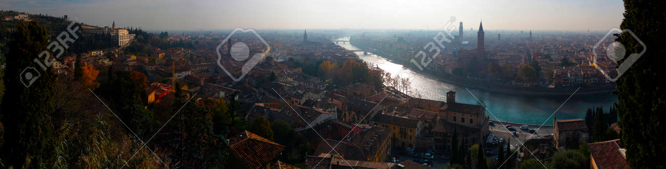 Panoramic view of the city of Verona in Italy.Sunset.Evening. - 142552400